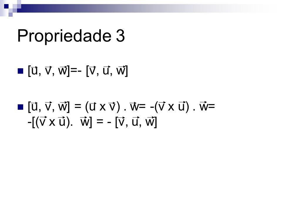 Propriedade 3 [u, v, w]=- [v, u, w]